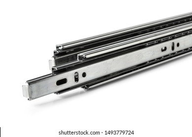 Furniture slide rails or metal drawers track isolated on white