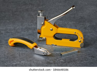 Furniture stapler and furniture staples collector close up