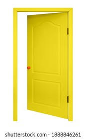 Furniture - Yellow inside open door in the orange handle isolated on a white background.