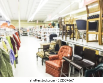 furniture,ware house aisle,some scene  in thrift store.-blurred.