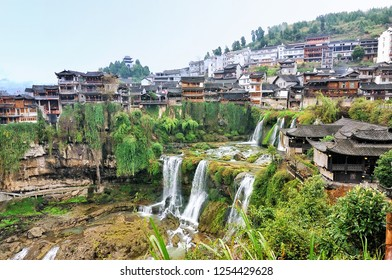 Furong Ancient Town, Hibiscus Town with the great waterfall in Xiangxi Hunan, China.