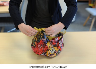 Furoshiki Japanese traditional gift wrapping cloth demonstration