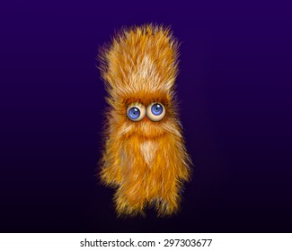 Furry cartoon character on a blue background