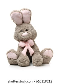 Furry, cuddly, lovable little rabbit toys on white background