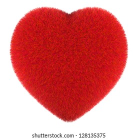 Furry red heart on a white background