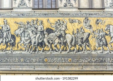 Furstenzug (Procession of Princes, 1871-1876, 102 meter, 93 people) is a giant mural decorates the wall. Dresden, Germany. It depicts to celebrate the 800 year anniversary of the Wettin Dynasty.