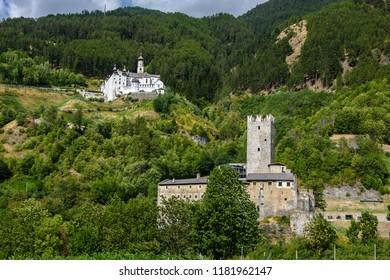 Fursternburg and Marienberg Abbey in Burgeis, Vinschgau, South Tyrol