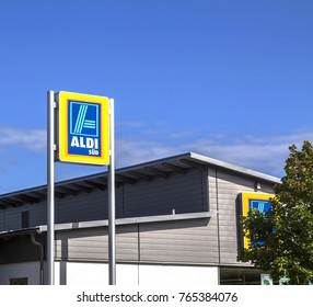Furth, Germany AUG 5, 2017:  ALDI (south) supermarket chain sign. ALDI (south) is a German global discount supermarket chain, based in Muelheim an der Ruhr
