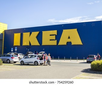 FURTH, GERMANY - AUGUST 5, 2017: IKEA store. IKEA is a multinational group of companies that designs, sells ready-to-assemble furniture. IKEA owns and operates 353 stores in 46 countries
