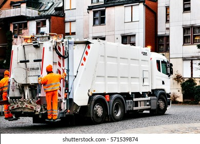 Furth, Germany, December 28, 2016: garbage collection in Germany