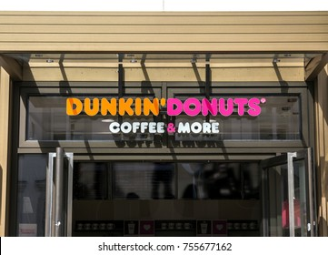 Furth, Germany - July 23, 2017: Dunkin' Donuts sign. Dunkin' Donuts is an American global doughnut company and coffeehouse chain.