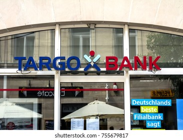 Furth, GERMANY July 23, 2017: Logo of the Targo bank branch. Targobank (formerly Citibank, Germany) is the German retail banking arm of Credit Mutuel.