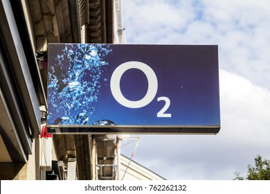 Furth, Germany - JULY 23, 2017: O2 shop. O2 is a European telecommunications company, specialized in mobile telephony owned by Telefonica