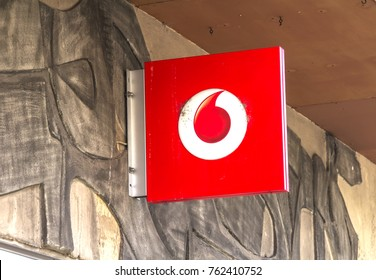 FURTH, GERMANY - JULY 23, 2017: Logo of Vodafone - Vodafone is a British multinational telecommunications company and It is the one of the world's largest mobile telecommunications company.