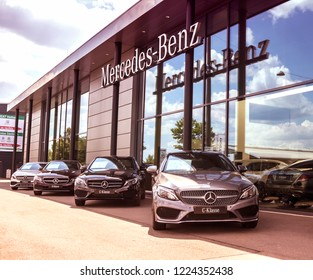 Furth, Germany - MAY 21, 2018:  Official dealer of Mercedes-Benz. Mercedes-Benz is a German luxury automobile manufacturer