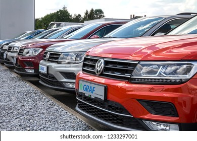 Furth, Germany MAY 21, 2018: Volkswagen group dealership and service, Skoda, Seat and Volkswagen. The Volkswagen Group is the second-largest automaker in the world.