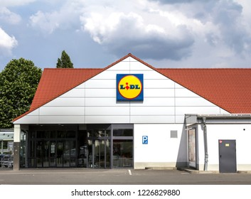 Furth, Germany MAY 31, 2018: LIDL supermarket and logo. Lidl is a German global discount supermarket chain, that operates over 10,000 stores across Europe.