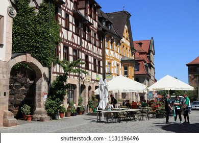 FURTH, GERMANY - MAY 6, 2018: People visit Marktplatz (also known as Gruner Markt) in Furth, Germany. It is a major town in Middle Franconia, more than 1000 years old.