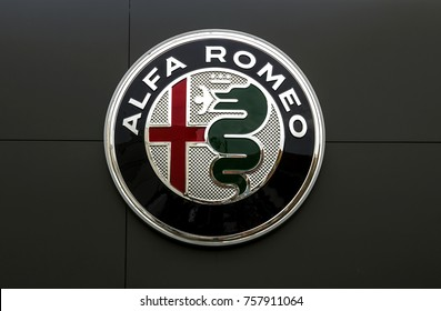 Furth, Germany - October 8, 2017: Alfa Romeo logo on a wall. Alfa Romeo is an Italian car manufacturer