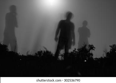Fury moonlight. Shadows among the people