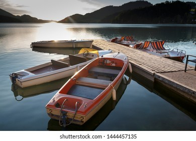 Fuschl am See, Austria - June 24, 2019: The Fuschlsee during summer season with it's beautiful surrounding landscape during sunset