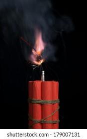 Fuse burning. Dynamite.