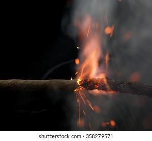 Fuse is burning. Safety fuse
