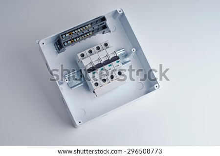 fusebox small open electrical cabinet four stock photo edit now rh shutterstock com