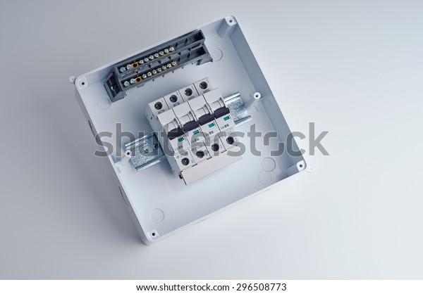small fuse box wiring fusebox small open electrical cabinet four stock photo  edit now  fusebox small open electrical cabinet