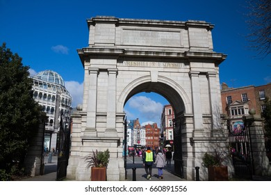 Fusiliers' Arch, a monument which forms part of the Grafton Street entrance to St Stephen's Green park, in Dublin, Ireland