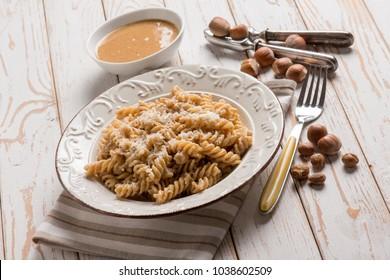 fusilli with hazelnut pesto