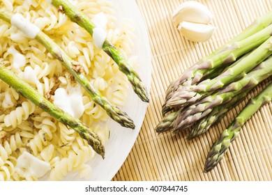 Fusilli Pasta with asparagus close up.