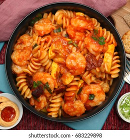Fusilli Shrimp Pasta with summer squash with verde and cookies.