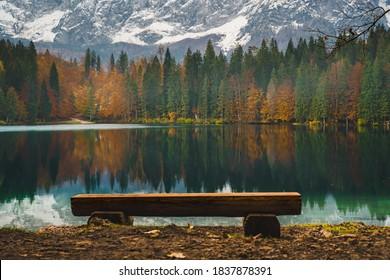 Fusine lakes in October, Tarvisio, Friuli Venezia Giulia region. Winter tourist attraction in Northern Italy