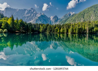 Fusine, Udine - August 20 2018: Panora of the Fusine lakes park in the mountains of the Friuli Venezia Giulia in Italy