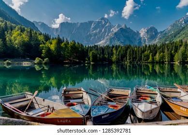 Fusine, Udine - August 22 2018: Alpine panorama of Friuli Venezia Giulia in Italy of the Fusine lakes