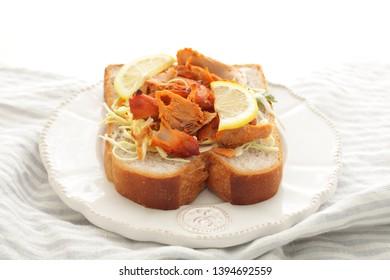 Fusion food, Tandoori chicken and cabbage open sandwich
