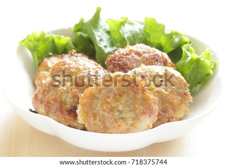 Fusion food, Tofu hamburger coated by egg patty for asian food image