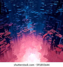 Fusion reaction city / 3D illustration of futuristic science fiction city above hot gaseous glow