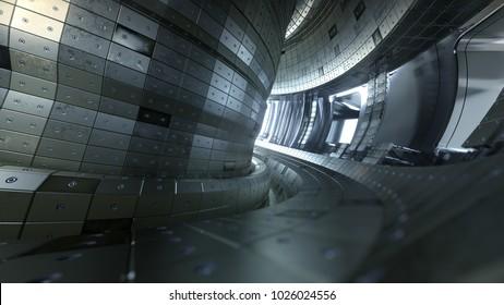 Fusion reactor Tokamak. Reaction chamber. Fusion power. 3D illustration. Thermonuclear torus fusion reactor chamber.Beautiful artistic representation