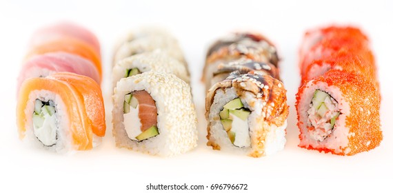 Fusion set sushi - isolated on white background, Studio shot. Shallow depth of field