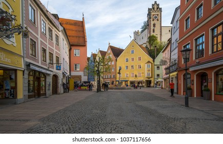 Fussen, Germany - April 29, 1015: Historic Center of Fussen, the southern terminus of the Romantic Road in Bavaria, Germany