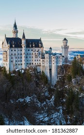 FUSSEN, GERMANY - DECEMBER 18 2013: View of Neuschwanstein Castle from Marienbrucke in winter