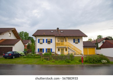 Fussen, Germany - June 4, 2016: View of the beautiful building in Fussen, Southwest Bavaria, Germany