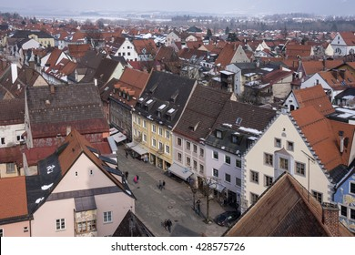 FUSSEN, GERMANY - MARCH 11, 2016: Aerial view of the main street of the medieval town of Fussen