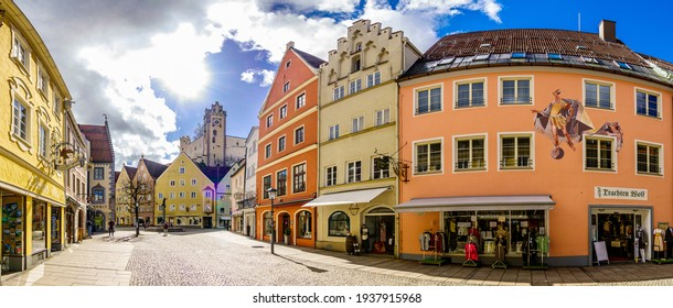 Fussen, Germany - March 12: old town with historic buildings of fussen on March 12, 2021