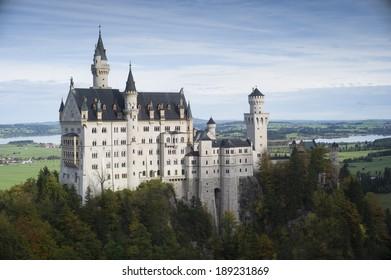 FUSSEN, GERMANY - OCT 18: Neuschwanstein Castle built in 1869 for King Ludwig Friedrich Wilhelm von Wittelsbach on October 18 2013 in Fussen, Germany.