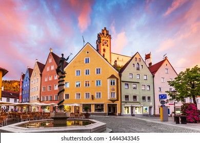 Fussen, Germany. Old townscape at sunset.