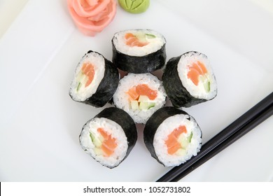 Futomaki, salmon. Traditional japanese sushi rolls