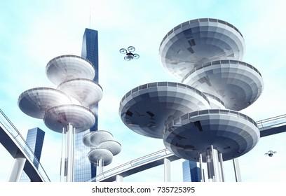Future architecture. Modern city building. 3d illustration